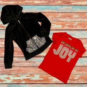 Circo Black Hoodie and Red Short Sleeve T-Shirt